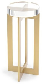 John-Richard Collection Glass Top Cross Legs End Table