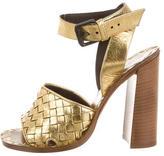Bottega Veneta Leather Metallic Sandals