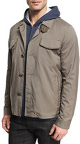 Loro Piana Illinois Wind Stretch Shirt Jacket, London (Gray)