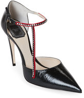 Christian Dior Black & Red T-Strass Pointed Toe T-Strap Pumps