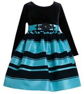 Bonnie Jean Turquoise Black Velvet Dress - Special Occasion Dress