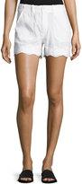 MiH Jeans Amas Eyelet-Trim Shorts, White