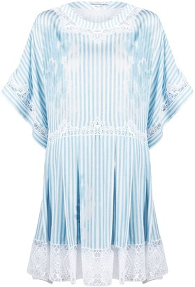 Ermanno Scervino Lace-Trim Striped Mini Dress