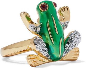 Kenneth Jay Lane 22-karat Gold-plated, Crystal And Enamel Ring