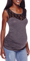 Asstd National Brand Maternity Garment Dye Lace Tank Top