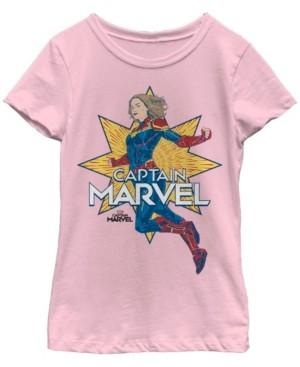 Fifth Sun Marvel Big Girl's Captain Marvel Strong Pose Short Sleeve T-Shirt