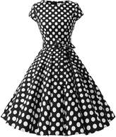 Dressystar Vintage 1950s Polka Dot and Solid Color Party Prom Dresses Rockabilly Cap Sleeves XL