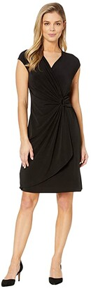 Tommy Bahama Carmela Short Sleeve Faux Wrap Dress (Black) Women's Dress