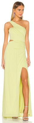 BCBGMAXAZRIA One Shoulder Cut Out Gown