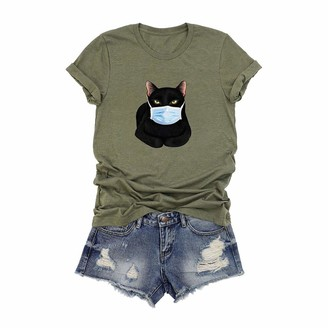 Beetlenew Womens Blouses Women's T-Shirt Funny Cartoon Cat Print Tee Shirts with Face Cover Pattern Summer Short Sleeve Casual Tops Novelty Graphic T-Shirts Club Party Clothes Blouse Plus Size UK 8-22 Gray