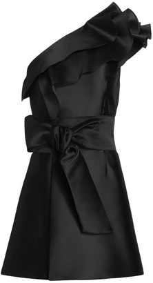 Alberta Ferretti One-Shoulder Ruffle Mikado Silk Cocktail Dress