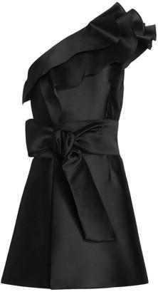 Alberta Ferretti One-Shoulder Ruffle Mikado Silk Cocktail Dress