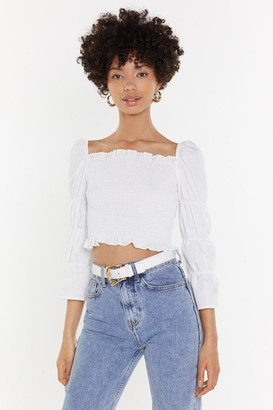 Nasty Gal Womens Truth Hurts Square Neck Shirred Top - White - L, White
