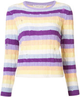 Marc Jacobs cable knit stripe sweater - women - Cashmere - S