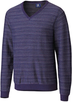 Cutter & Buck Navy Blue Stripe Douglas Rhone V-Neck Pullover - Big & Tall