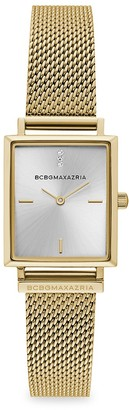 BCBGMAXAZRIA Classic Rectangular Goldtone Stainless Steel Mesh Bracelet Watch
