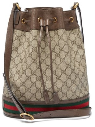 Gucci Ophidia Small Gg Supreme Leather Bucket Bag - Grey Multi