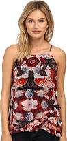 Sam Edelman Womens Stella Printed 3 Layer Tank Top Boysenberry XS (US 0-2) One Size