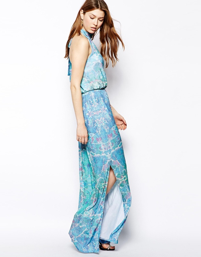Pearl Halterneck Maxi Dress in Blue Mirror Print