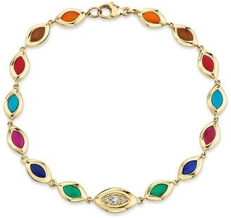 Andy Lif 18kt Yellow Gold Cat's Eye Enamel And Diamond Bracelet