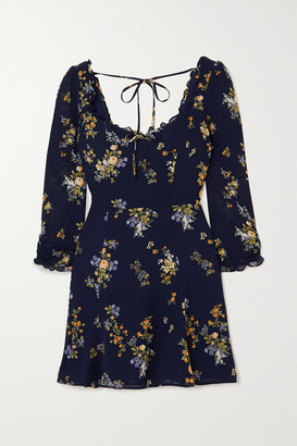 Reformation Remi Ruffled Floral-print Crepe Mini Dress - Navy