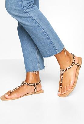 boohoo Square Toe Thong Sandals