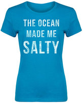 Turquoise 'The Ocean Made Me Salty' Fitted Tee