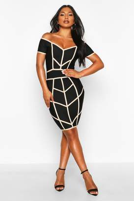 boohoo Off Shoulder Seam Detail Bandage Dress