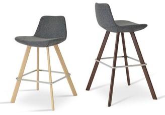 """Ash Sohoconcept Pera Bar & Counter Stool sohoConcept Seat Height: Counter Stool (24"""" Seat Height), Color Wood Natural, Upholstery: Dark Gray Camira Wool"""