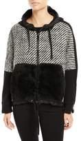 Moncler Maglia Fur-Trim Tweed Sweatshirt