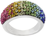 JCPenney FINE JEWELRY Rainbow Crystal Sterling Silver Domed Ring