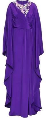 Emilio Pucci Wrap-effect Embellished Silk-charmeuse Kaftan