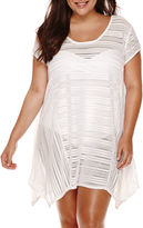 A.N.A a.n.a Cap-Sleeve Mini-Crochet Stripe Sharkbite Dress Cover-Up - Plus