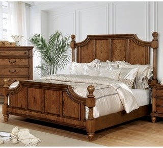 Furniture of America Gorz Traditional Oak Wood Poster Bed