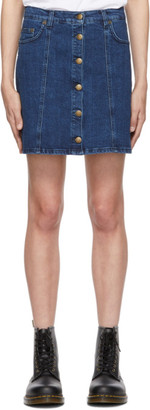 McQ Blue Denim Button Up Miniskirt