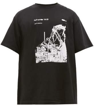 Off-White Off White Ruined Factory-print Cotton T-shirt - Mens - Black White