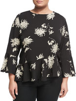 Neiman Marcus Chrysanthemum Floral-Print Top, Plus Size