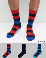 Pringle Wide Stripe Socks 3 Pack Blue