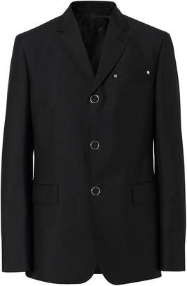 Burberry Slim Fit Press-stud Wool Mohair Tailored Jacket