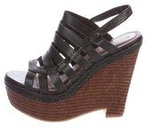 Elizabeth and James Embossed Caged Platform Sandals