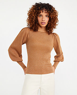Ann Taylor Petite Shimmer Puff Sleeve Boatneck Sweater