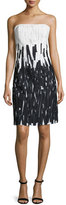 Escada Strapless Degrade Embroidered Dress, Off White