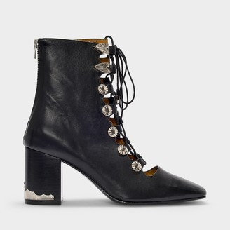 Toga Pulla Ankle Boots In Black Leather With Metallic Details