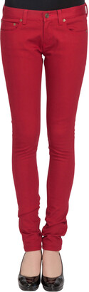 Saint Laurent Paris Brick Red Stretch Denim Skinny Jeans M
