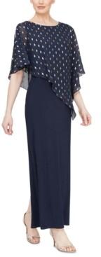 SL Fashions Petite Foil-Print Popover Gown