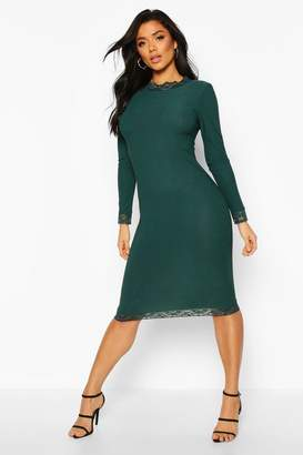 boohoo Lace Detail High Neck Long Sleeve Midi Dress