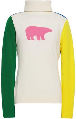 Perfect Moment Color-block Intarsia Merino Wool Turtleneck Sweater