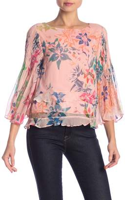 Nicole Miller Amazon Silk Pintuck Sleeve Blouse