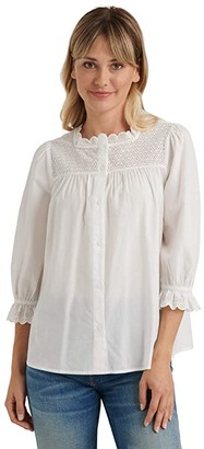 Lucky Brand 3/4 Sleeve Crew Neck Poppy Eyelet Top (Lucky White) Women's Clothing