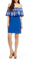 Sugar Lips Sugarlips Off-the-Shoulder Embroidered Popover Dress
